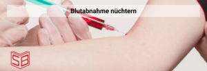 Diese Abbildung zeigt, wie Blutabnahme nüchtern am Arm mit einer Spritze gemacht wird.