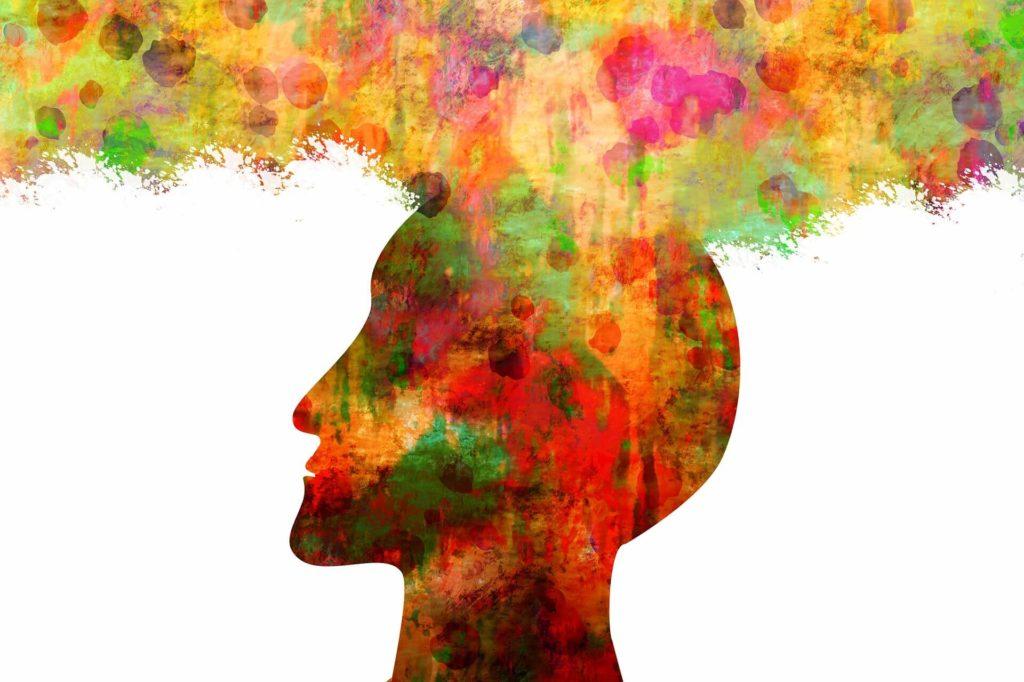 Diese Abbildung zeigt, einen bunten Kopf der das Kurzzeitgedächtnis trainieren wiederspiegelt.